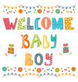 Welcome baby boy Baby boy arrival card Baby boy vector image vector image