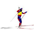 biathlon runner colored silhouettes vector image