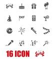 grey party icon set vector image