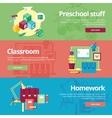 Set of flat design concepts for preschool vector image