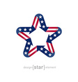 star with american flag color and symbol design vector image