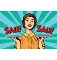 Woman sale on a tray vector image