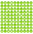 100 energy icons set green circle vector image vector image