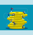 a group business people climbing huge pile vector image vector image