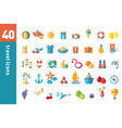 a large collection modern flat icons on the vector image vector image