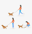 a woman cleaning after dog vector image