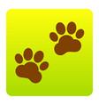 animal tracks sign brown icon at green vector image vector image