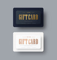 black and white gift card design with gold text vector image vector image