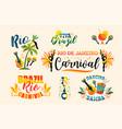 brazilian carnival big set emblems vector image vector image