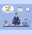 business man doing yoga vector image vector image