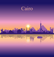cairo city silhouette on sunset background vector image