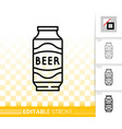 can beer simple black line ale drink icon vector image vector image