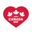 canada day patriotic celebration heart and maple vector image vector image