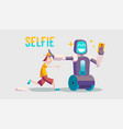 cartoon about a guy and selfie robot vector image vector image