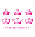 cartoon pink crown de princess set icons cute vector image