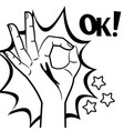 comic style hand ok sign black and white vector image
