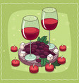 composition with red wine and grapes and cheese vector image