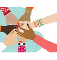 concept team work friends with stack hands vector image vector image