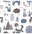 cute scandinavian pattern wood animals woodland vector image