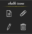 File manager chalk icons set vector image