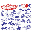 Fish drawings and icons vector image vector image