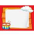 Frame design with drum and clouds vector image vector image