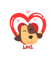 funny jack russell terrier dog and red heart cute vector image vector image