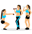 girl with dumbbells the girl is drinking water vector image