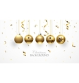 Golden Christmas balls and confetti vector image