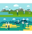 Golf course 2 flat banners composition vector image vector image
