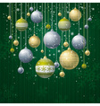 green card with christmas balls vector image vector image