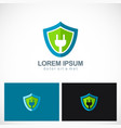 green electric shield protection logo vector image vector image