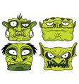 halloween green scary zombie head vector image vector image