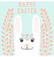 Happy bunny face rabbit head in floral wreath vector image