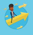 happy businessman flying to success vector image vector image