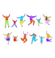 happy people jumping set isolated cartoon vector image vector image