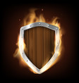 icon military wooden shield is burning vector image