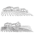 Landscape with Fields and village House vector image vector image