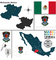 Map of Michoacan vector image vector image