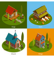 medieval settlements isometric concept vector image vector image