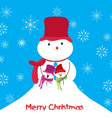 Merry christmas greeting card with family snowmans vector image vector image