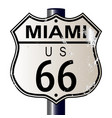 miami route 66 sign vector image vector image