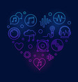 music icons in heart shape colored vector image vector image