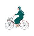 muslim woman in hijab riding bike modern arab vector image vector image
