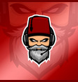 old beard man esport logo with red fez hat vector image vector image