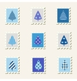 Postal stamps set fir-trees vector image vector image