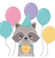 raccoon cartoon with happy birthday icon design vector image vector image