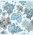 seamless floral pattern leaves and herbs vector image vector image