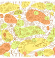 seamless pattern of hand drawn pizz vector image vector image