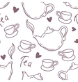 Seamless pattern with hand drawn tea cup and vector image vector image